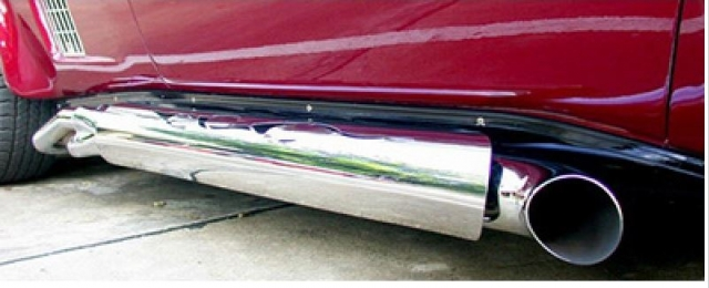 Corvette Shield Side Exhaust Polished Stainless Steel With Top Flame One Pair 63 82 E20805 Ec Products