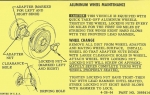 13023 INSTRUCTIONS-ALUMINUM KNOCK OFF WHEELS-FOR GLOVE BOX OWNERS MANUAL-64-66