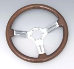 E11881 WHEEL-STEERING-MAHOGANY-WITH CHROME PLATED SPOKES-67-82