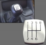 E13712 BUTTON COVER-SHIFTER KNOB-6 SPEED-BRUSHED ALUMINUM-97-04