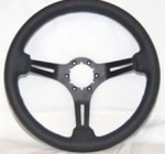 E13729 WHEEL-STEERING-BLACK LEATHER WITH BLACK SPOKES-14 INCH DIAMETER-63-82 EXCEPT 1976