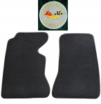 E14832L MAT SET-FLOOR-80-20 LOOP-WITH EMBROIDERED CORVETTE CIRCLE LOGO-COLORS-PAIR-58