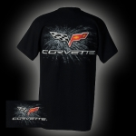 E15549 SHIRT-C6 CORVETTE FLAG-BLACK