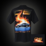 E15595 SHIRT-C6 CORVETTE FLAME-BLACK