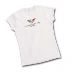 E15609 SHIRT-LADIES-JUNIOR-CORVETTE GIRL-WHITE