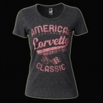 E15610 SHIRT-LADIES-JUNIORS-AMERICAN CLASSIC CORVETTE-BLENDED COTTON-HEATHER BLACK