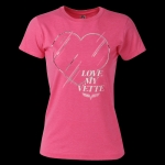 E15611 SHIRT-LADIES-JUNIORS-CORVETTE HIP HEART C6 LOGO-BLENDED COTTON-HEATHER HOT PINK