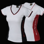 E15649 SHIRT-LADIES-CORVETTE SIDE PANEL V-NECK-RED
