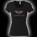 E15651 SHIRT-LADIES-C5 RHINESTONE-100% COTTON-BLACK