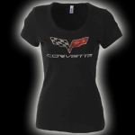 E15652 SHIRT-LADIES-C6 RHINESTONE-100% COTTON-BLACK