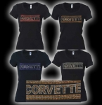 E15654 SHIRT-LADIES-BLACK-100% COTTON-CORVETTE BLUE RHINESTONE