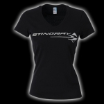 E15813 SHIRT-LADIES-JUNIORS-C7 STINGRAY METALLIC V-NECK-100% COTTON-BLACK