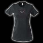 E15814 SHIRT-LADIES-C7 CORVETTE-BLENDED COTTON-HEATHER BLACK