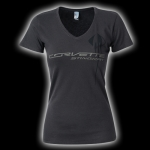 E15815 SHIRT-LADIES-JUNIORS-C7 CORVETTE STINGRAY V-NECK-100% COTTON-CHARCOAL