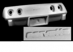E17790 BUMPER-REAR-FIBERGLASS-WITH EMBLEM INDENT-E-ZEE FIT FLEX-HAND LAYUP-76E