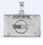 JEWELRY - LICENSE PLATE - .925 STERLING SILVER - CORVETTE C4 EMBLEM