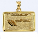 E19398 JEWELRY-LICENSE PLATE-14K GOLD PLATE OVER .925 STERLING SILVER-CORVETTE GRAND SPORT