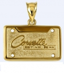 E19399 JEWELRY-LICENSE PLATE-14K GOLD PLATE OVER .925 STERLING SILVER-CORVETTE STING RAY