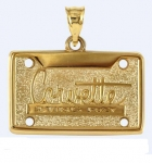 E19408 JEWELRY-LICENSE PLATE-14K GOLD PLATE OVER .925 STERLING SILVER-CORVETTE STING RAY