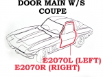 E2070R WEATHERSTRIP-DOOR MAIN-COUPE-USA-RIGHT-63-67