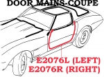 E2076R WEATHERSTRIP-DOOR MAIN-COUPE-USA-RIGHT-78-82
