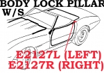 E2127R WEATHERSTRIP-BODY LOCK PILLAR-CONVERTIBLE-USA-RIGHT-68-E69