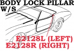 E2128L WEATHERSTRIP-BODY LOCK PILLAR-CONVERTIBLE-USA-LEFT-69L-75