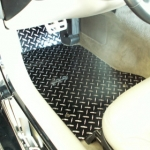 E21423 Mat Set-Floor-Diamond Plate-Polished Aluminum-Black-Pair-99-04