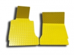 E21424 Mat Set-Floor-Diamond Plate-Polished Aluminum-Yellow-Pair-99-04