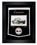 E22841 BANNER-FRAMED WOOL EMBROIDERED CORVETTE GENERATIONS BANNER-53-62