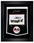 E22842 BANNER-FRAMED WOOL EMBROIDERED CORVETTE GENERATIONS BANNER-63-67