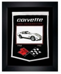 E22843 BANNER-FRAMED WOOL EMBROIDERED CORVETTE GENERATIONS BANNER-68-82