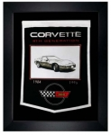 E22844 BANNER-FRAMED WOOL EMBROIDERED CORVETTE GENERATIONS BANNER-84-96