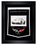 E22845 BANNER-FRAMED WOOL EMBROIDERED CORVETTE GENERATIONS BANNER-97-04