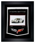 E22846 BANNER-FRAMED WOOL EMBROIDERED CORVETTE GENERATIONS BANNER-05-13