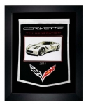 E22847 BANNER-FRAMED WOOL EMBROIDERED CORVETTE GENERATIONS BANNER-14-19