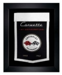 E22849 BANNER-FRAMED WOOL EMBROIDERED CORVETTE GENERATIONS BANNER-53-62