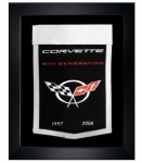 E22853 BANNER-FRAMED WOOL EMBROIDERED CORVETTE GENERATIONS BANNER-97-04