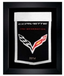 E22855 BANNER-FRAMED WOOL EMBROIDERED CORVETTE GENERATIONS BANNER-14-19