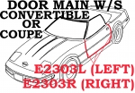 E2303L WEATHERSTRIP-DOOR MAIN-COUPE OR CONVERTIBLE-USA-LEFT-84-89