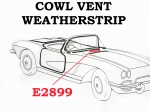 E2899 WEATHERSTRIP-COWL VENT-USA-EACH-53-62