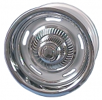 E3396 WHEEL SET-INCLUDES 4 WHEELS-4 CHROME PLASTIC CENTER CAPS-4 CHROME PLATED TRIM RING-69-82