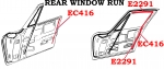 EC416 LINERS-REAR WINDOW RUN-PAIR-COUPE 63-CONVERTIBLE-56-67