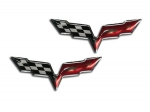 E21648 Emblem-C6 Crossed Flags-Raised Vinyl-Pair-05-13
