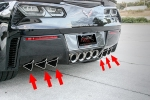 E21857 Diffuser Fins-Rear Bumper-Stainless Steel or Carbon Fiber-6 Pieces-15-17