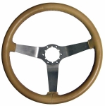 E8034 WHEEL-STEERING-LEATHER-WITH BRUSHED STAINLESS STEEL SPOKES-77-79