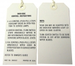 E8447 INSTRUCTION CARD-HEADLAMP OVER-RIDE CONTROL-W-S WIPERS AND W-S WIPER DOOR-68