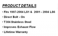 E13796 PIPE-EXHAUST- X PIPE-NXT-STEP-CROSSOVER-STAINLESS STEEL-97-04 LS1-01-04 LS6