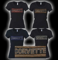 E15655 SHIRT-LADIES-BLACK-100% COTTON-CORVETTE GOLD RHINESTONE