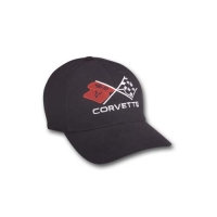 E15659 CAP-CORVETTE CROSSFLAG-BLACK